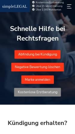 Vorschau der mobilen Webseite simplelegal.de, simpleLEGAL