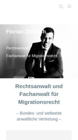 Vorschau der mobilen Webseite www.anwalt-diedrich.de, Rechtsanwalt Florian Diedrich