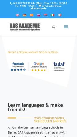 Vorschau der mobilen Webseite www.das-akademie.de, D.A.S. Akademie GmbH