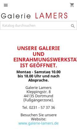 Vorschau der mobilen Webseite www.galerielamers.de, Galerie Lamers