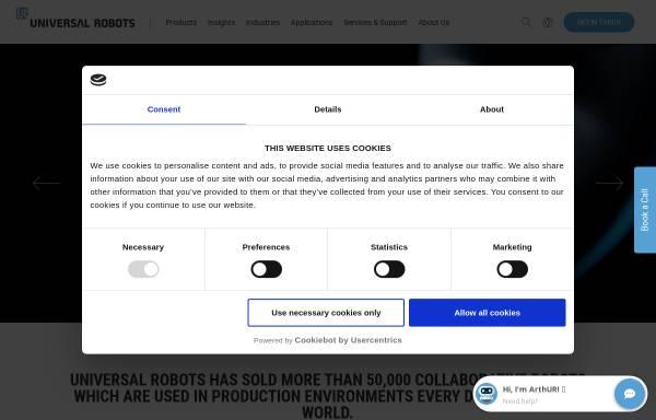 Vorschau von www.universal-robots.com, Universal Robots