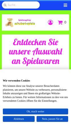 Vorschau der mobilen Webseite www.schubert-spiele.de, Schubert-Spiele