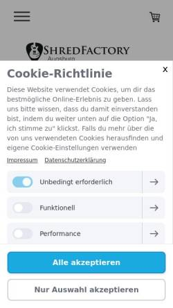Vorschau der mobilen Webseite www.shredfactory-augsburg.de, ShredFactory Augsburg