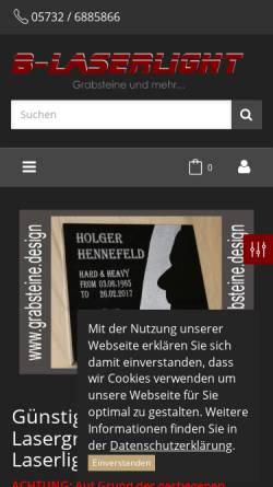 Vorschau der mobilen Webseite www.grabsteine.design, B-Laserlight