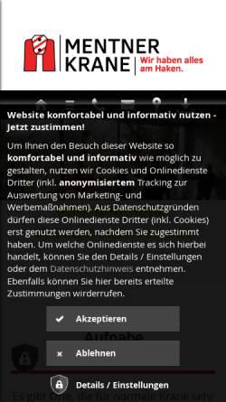 Vorschau der mobilen Webseite mentner-krane.de, Mentner Krane e. K.