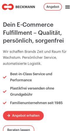 Vorschau der mobilen Webseite beckmannsys.com, Beckmann Systemlogistik GmbH