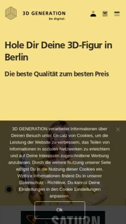 Vorschau der mobilen Webseite www.3dgeneration.com, 3D GENERATION GmbH