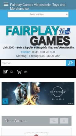 Vorschau der mobilen Webseite www.fairplay-games.de, Fairplay Games V