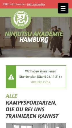 Vorschau der mobilen Webseite ninjutsu-akademie.com, Ninjutsu Akademie