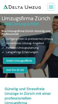 Vorschau der mobilen Webseite deltaumzug.ch, Delta Umzug GmbH