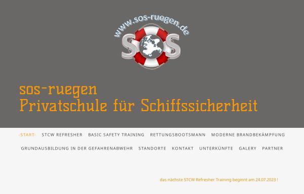 Vorschau von www.sos-ruegen.de, Privatschule für Schiffssicherheit