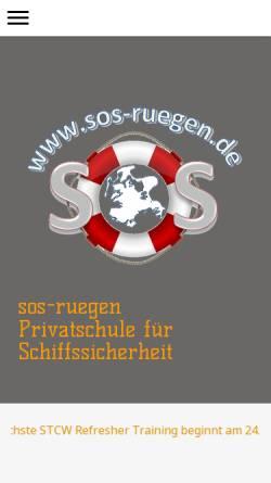 Vorschau der mobilen Webseite www.sos-ruegen.de, Privatschule für Schiffssicherheit