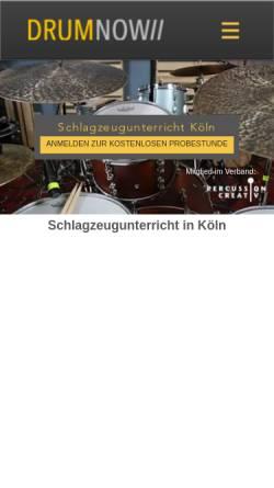 Vorschau der mobilen Webseite www.drumnow.de, Drumnow Tonstudio & Unterrichtsraum