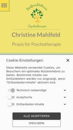 Vorschau der mobilen Webseite www.psychotherapie-mahlfeld.de, Christine Mahlfeld