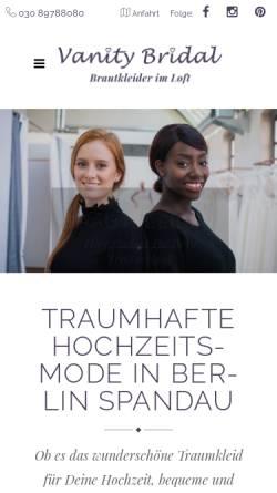 Vorschau der mobilen Webseite vanitybridal.de, Vanity Bridal GmbH