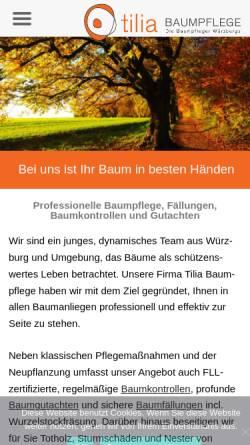 Vorschau der mobilen Webseite tilia-baumpflege.de, Tilia Baumpflege GmbH & Co. KG