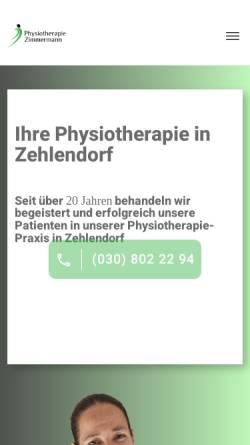 Vorschau der mobilen Webseite zimmermann-physiotherapie.de, Physiotherapie Zimmermann