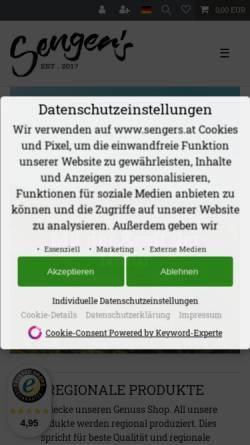 Vorschau der mobilen Webseite www.sengers.at, Senger's e.U. Kürbiskern-Manufaktur