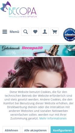 Vorschau der mobilen Webseite www.becopa.de, Becopa