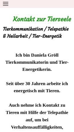 Vorschau der mobilen Webseite www.kontakt-zur-tierseele.de, Daniela Gröll