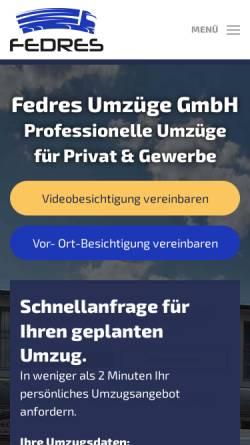 Vorschau der mobilen Webseite fedres-umzuege.de, Fedres Umzüge GmbH