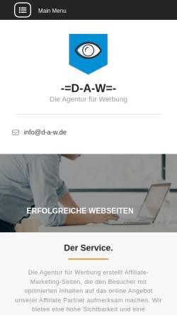 Vorschau der mobilen Webseite d-a-w.de, Die Agentur für Werbung
