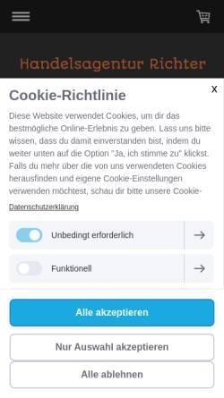 Vorschau der mobilen Webseite www.handelsagentur-richter.de, Richter Dekofiguren