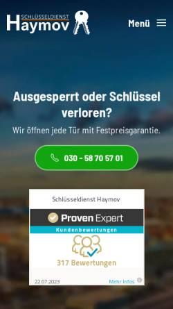 Vorschau der mobilen Webseite www.schluesseldienst-haymov.de, Schlüsseldienst Haymov