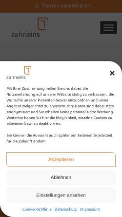 Vorschau der mobilen Webseite zahneins.com, zahneins GmbH