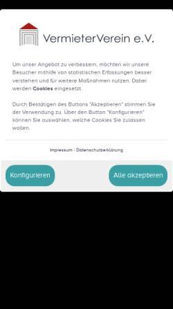 Vorschau der mobilen Webseite www.vermieterverein.de, VermieterVerein e.V.