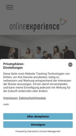 Vorschau der mobilen Webseite www.onlineexperience.de, Online Experience GmbH