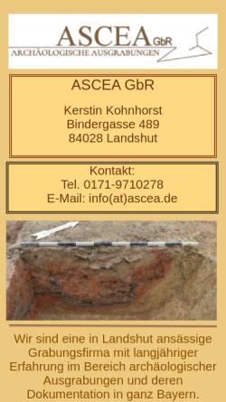 Vorschau der mobilen Webseite www.ascea.de, ASCEA GbR