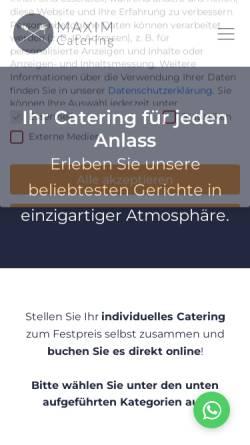 Vorschau der mobilen Webseite maxim-catering.de, Maxim Catering