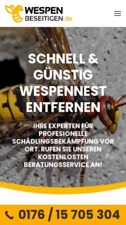 Vorschau der mobilen Webseite wespen-beseitigen.de, wespen-beseitigen
