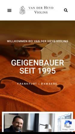 Vorschau der mobilen Webseite vanderheyd.com, van der Heyd Violins
