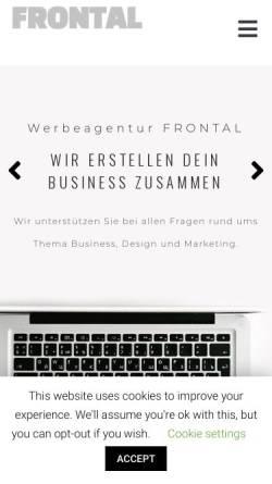 Vorschau der mobilen Webseite www.werbeagentur-frontal.de, Frontal Werbeagentur