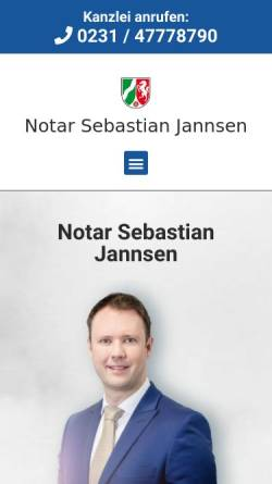 Vorschau der mobilen Webseite notar-jannsen-dortmund.de, Notar Sebastian Jannsen