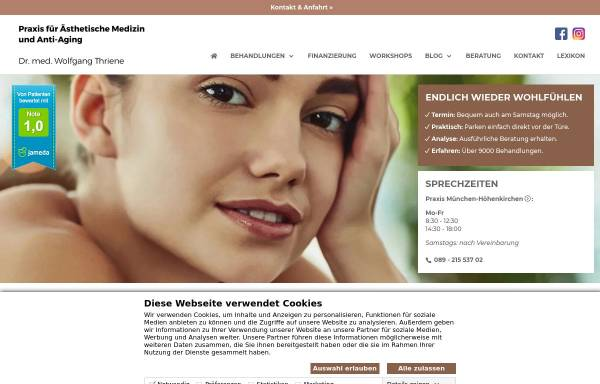 Vorschau von aesthetic-antiaging.de, Praxis für ästhetische Medizin. Dr. med. W. Thriene