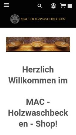 Vorschau der mobilen Webseite www.holzwaschbecken.shop, MAC-Holzwaschbecken