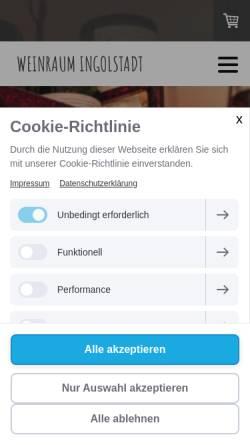 Vorschau der mobilen Webseite www.weinraum-ingolstadt.de, Weinraum Ingolstadt