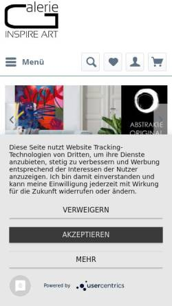 Vorschau der mobilen Webseite www.inspire-art.de, Galerie Inspire Art