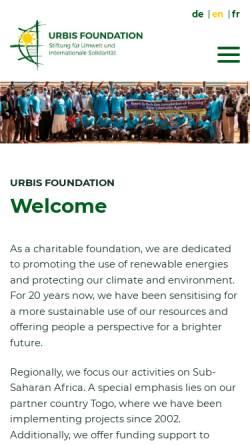 Vorschau der mobilen Webseite www.urbis-foundation.de, URBIS Foundation - Stiftung für Umwelt und internationale Solidarität