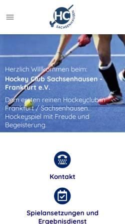 Vorschau der mobilen Webseite www.hockey-sachsenhausen.de, Hockey Club Sachsenhausen - Frankfurt e.V.