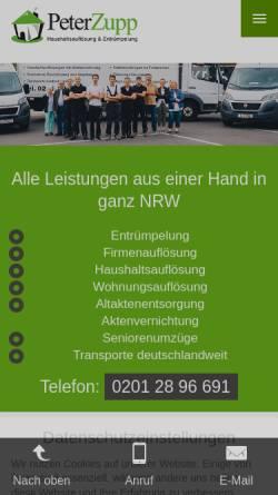 Vorschau der mobilen Webseite www.peter-zupp.de, Peter Zupp GmbH