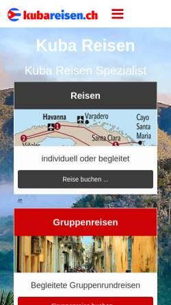 Vorschau der mobilen Webseite www.kubareisen.ch, Reiselade Huttwil - Kuba Reisen