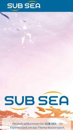 Vorschau der mobilen Webseite www.sub-sea.de, Sub Sea Wassersporthandel & Reisen GmbH