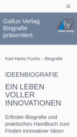 Vorschau der mobilen Webseite ideenbiografie.de, Ideenbiografie - Ein Leben voller Innovationen von Karl-Heinz Fuchs