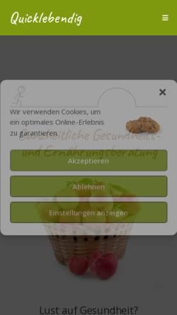 Vorschau der mobilen Webseite quicklebendig.ch, Quicklebendig