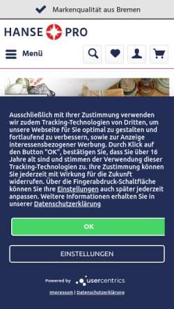 Vorschau der mobilen Webseite www.hansepro.de, Hansepro GmbH
