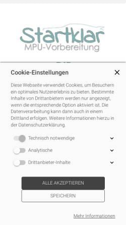 Vorschau der mobilen Webseite www.startklar-mpu.de, startklar-MPU